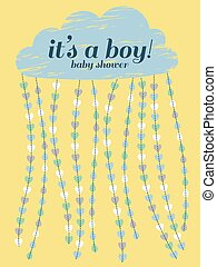 Baby shower boy invitation. Cloud, hearts, drops