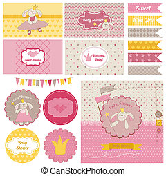 Baby Shower Bunny Party Set - for design and scrapbook - in vector