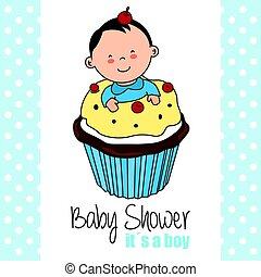 Baby boy inside a cupcake