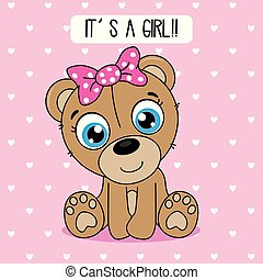 cute bear with a pink bow