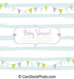 Baby shower card for boy, blue past