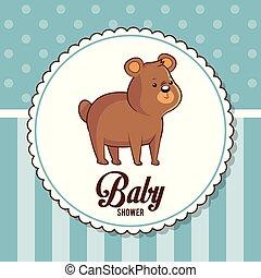 baby shower card invitation cute bear