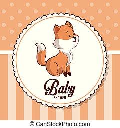 baby shower card invitation greeting cute fox