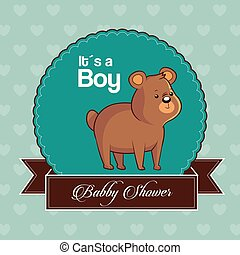 baby shower card invitation its a boy with cute bear