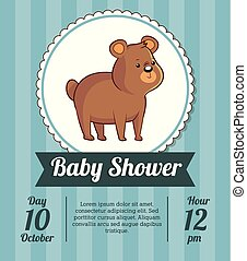 baby shower card invitation save date with cute bear