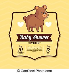 baby shower card invitation save the date with bear cute
