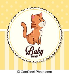 baby shower card invitation with cute tiger