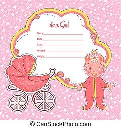 Baby shower card newborn girl with stroller.