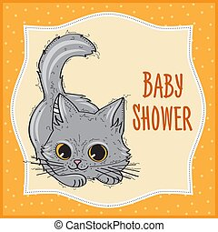 baby shower card template with funny doodle kitten