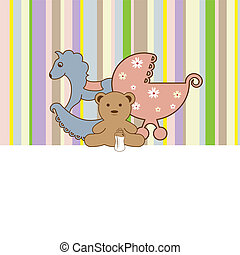 Baby shower card - Vector retro greeting card for baby ...