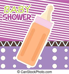 Baby shower card with a baby bottle