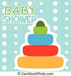 Baby shower card with a toy