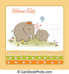 baby shower card with baby elephant