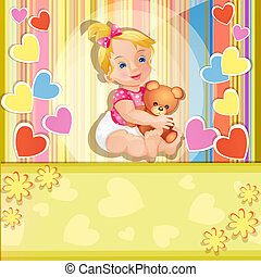 Baby shower card with baby girl