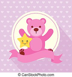 baby shower card with bear teddy