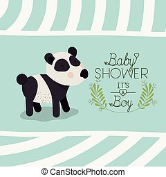 baby shower card with cute bear panda