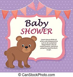 baby shower card with cute bear