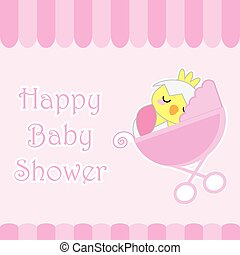Baby Shower Card With Cute Chick On Baby Cart