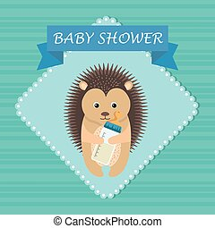 baby shower card with cute porcupine