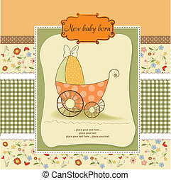 baby shower card with cute pram