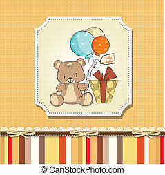 baby shower card with cute teddy