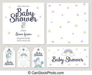 Baby Shower card with cute unicorn