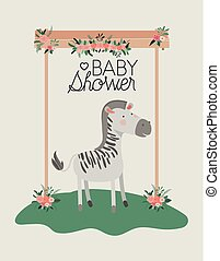 baby shower card with cute zebra