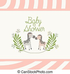 baby shower card with cute zebras couple
