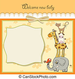 baby shower card with funny pyramid