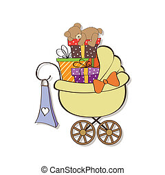 baby shower card with gift boxes in the pram