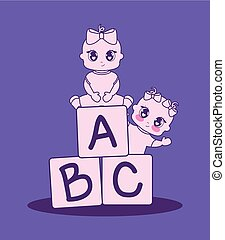 baby shower card with girls and alphabet blocks