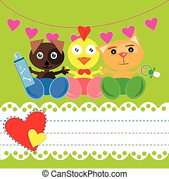 Baby shower card With little animal