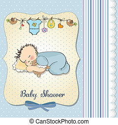 baby shower card with little baby boy sleep with his teddy...