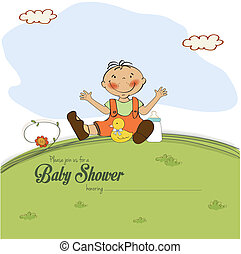 baby shower card with little boy, vector illustration