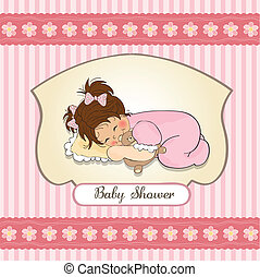 baby shower card with little girl and her toy