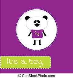Baby shower card with panda. It's a boy