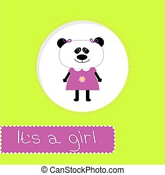 Baby shower card with panda. It's a girl