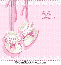 Baby shower card with pink booties and lace