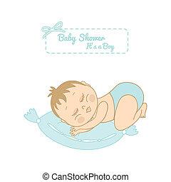 baby shower card with pretty boy