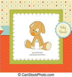 baby shower card with puppy toy