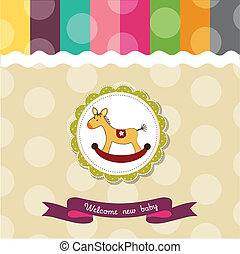 baby shower card with rocking horse