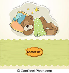 baby shower card with sleeping teddy bear, illustration in...