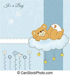baby shower card with sleepy teddy bear, vector illustration
