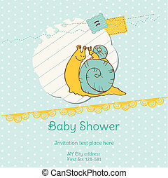 Baby Shower Card with Snail - with place for your text - in vector