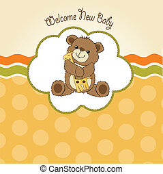 baby shower card with teddy bear and his toy, vector illustration