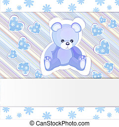 Baby shower card with teddy bear