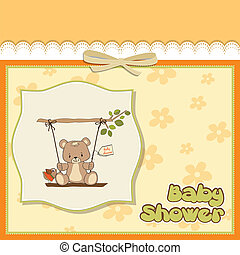 baby shower card with teddy bear in