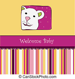 baby shower card with teddy bear toy