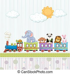 Baby shower card with train