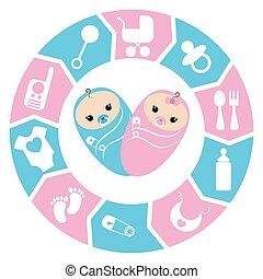 Baby shower cartoon design